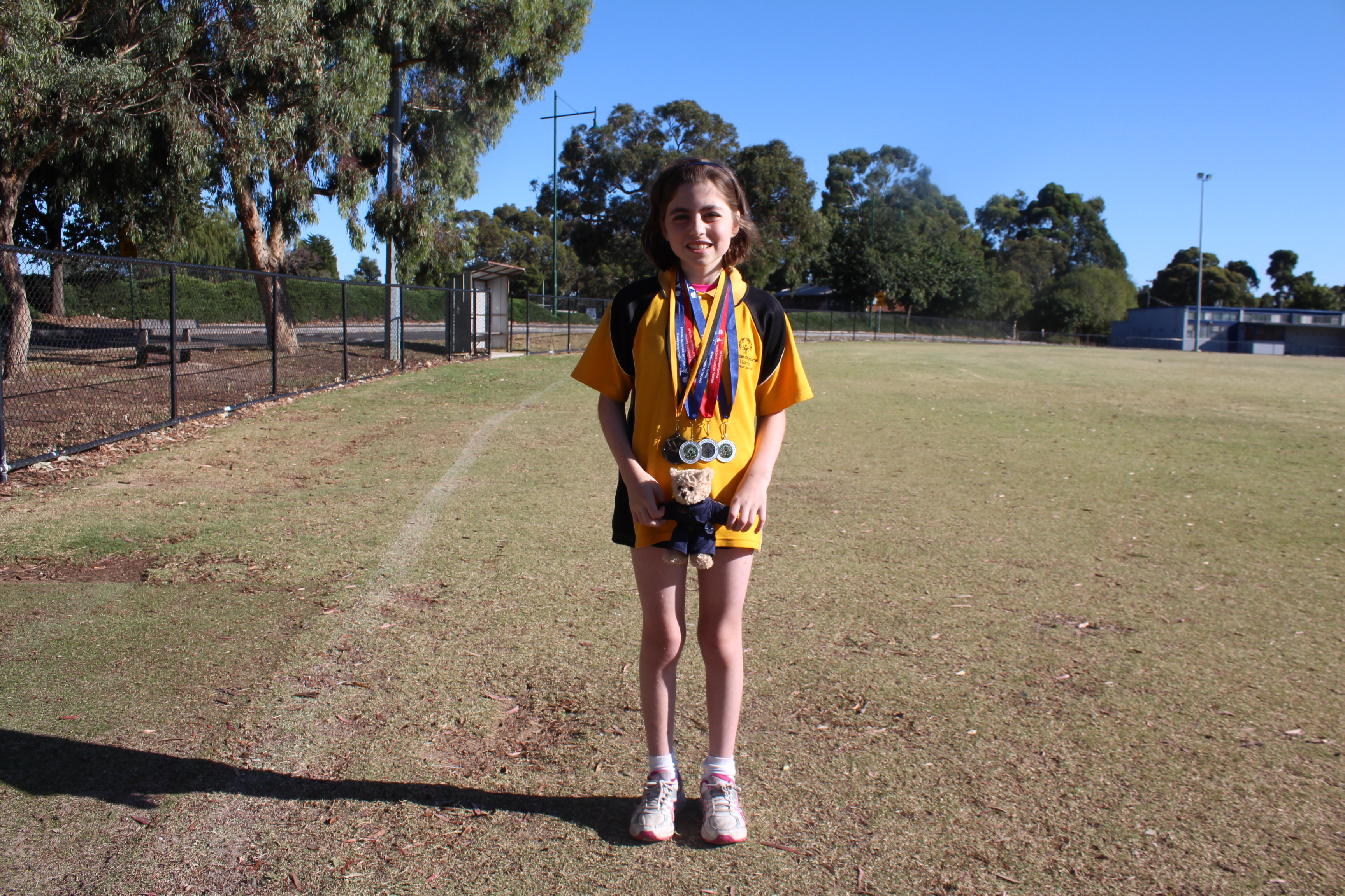 Emily Shiell, 11, will represent Victoria this week in athletics at the Special Olympics National Games in Adelaide. Photo: Charlotte Grieve