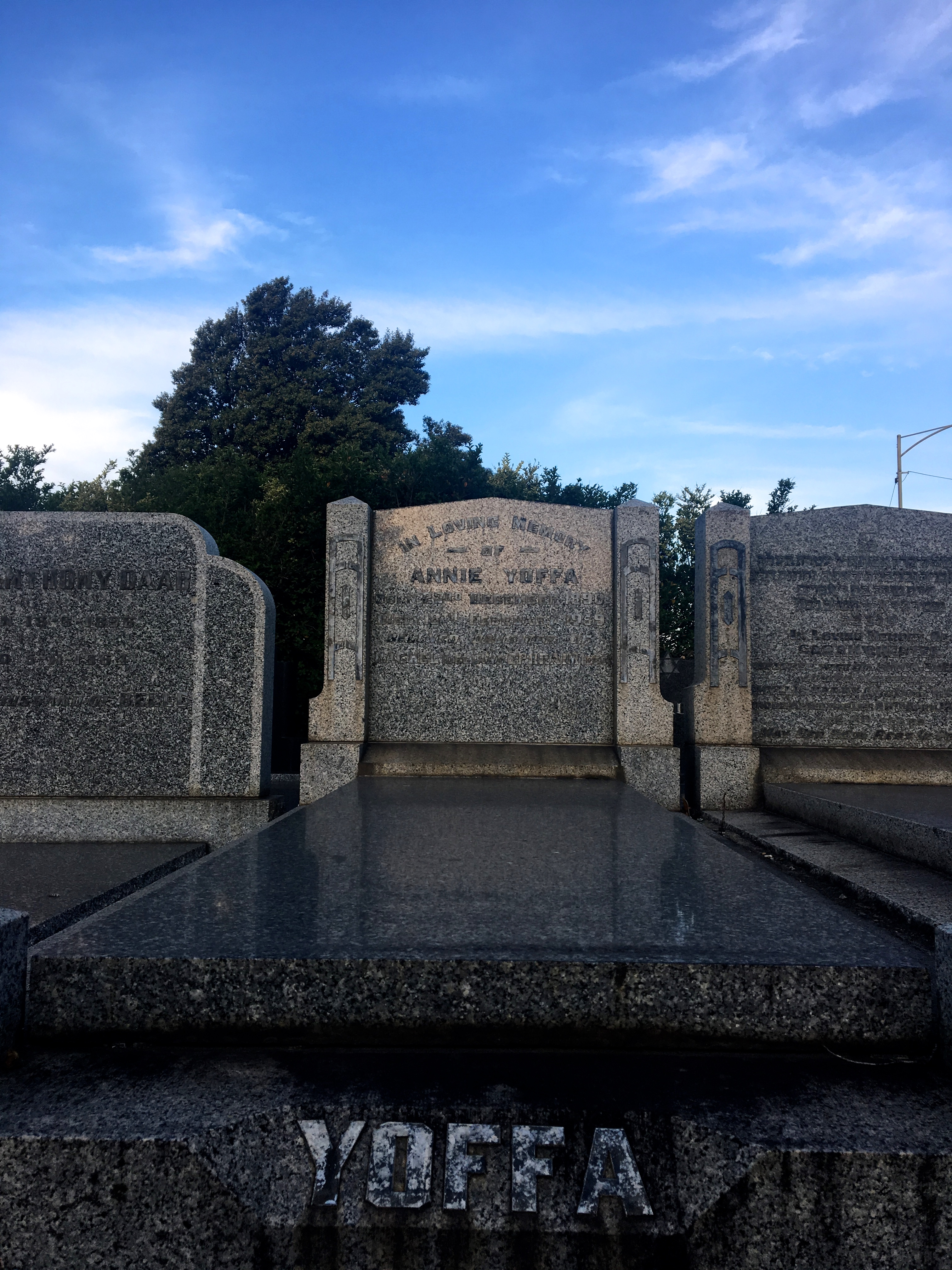 Dr Annie Yoffa's grave at the Melbourne General Cemetery.
