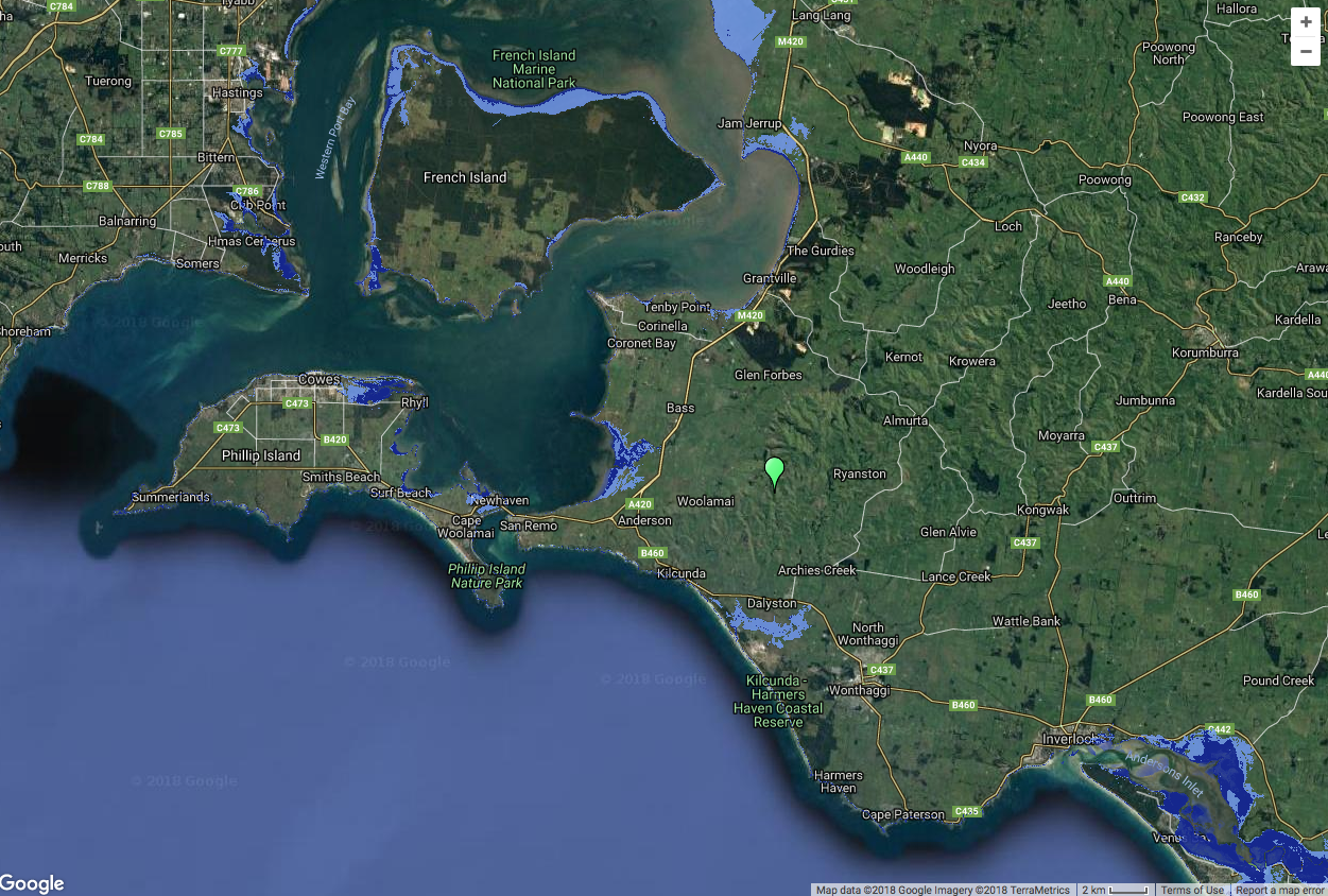 This map prepared by Coastal Risk Australia models high tides in 2100 on the Bass Coast, with Lang Lang top centre. It presumes a high emissions scenario, which is close to the present course. Dark blue shows present day highest tides; light blue models highest tides in 2100. This tool can be accessed for any site on the Australian coast at this site: http://coastalrisk.com.au/viewer