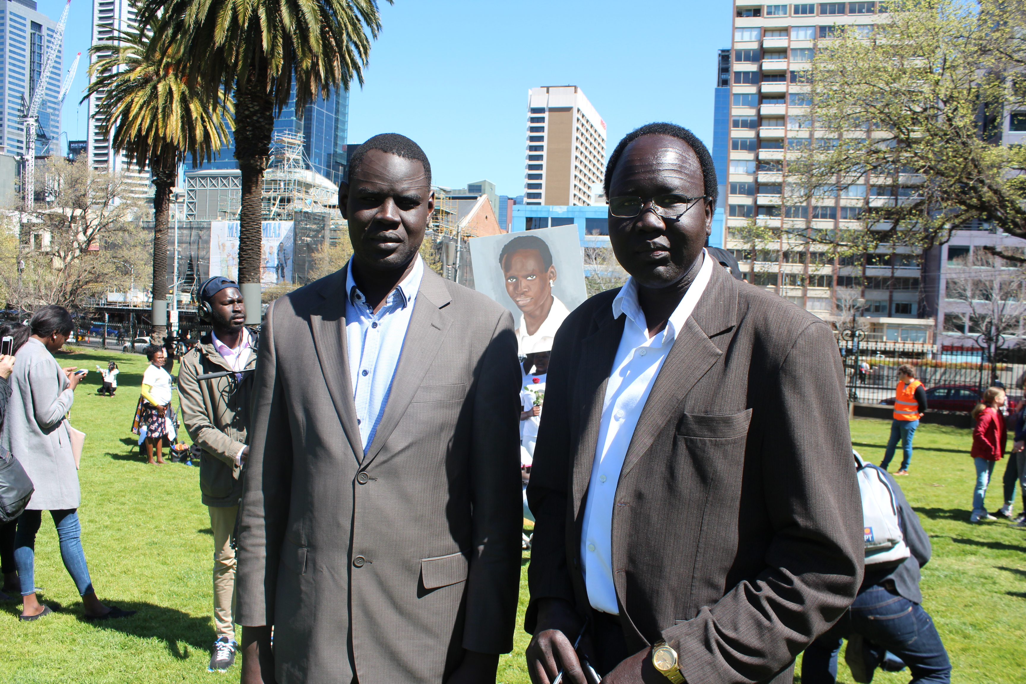 """""""We're here to support the family,"""" said Bol Machar, South Sudanese community leader, with Gatkuoth Chol, Pastor of Springvale Sudanese Group of Seventh-Day Adventist Church."""