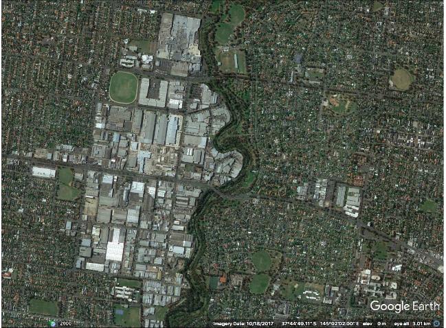 A Google Earth image showing the urbanisation around Darebin Creek.