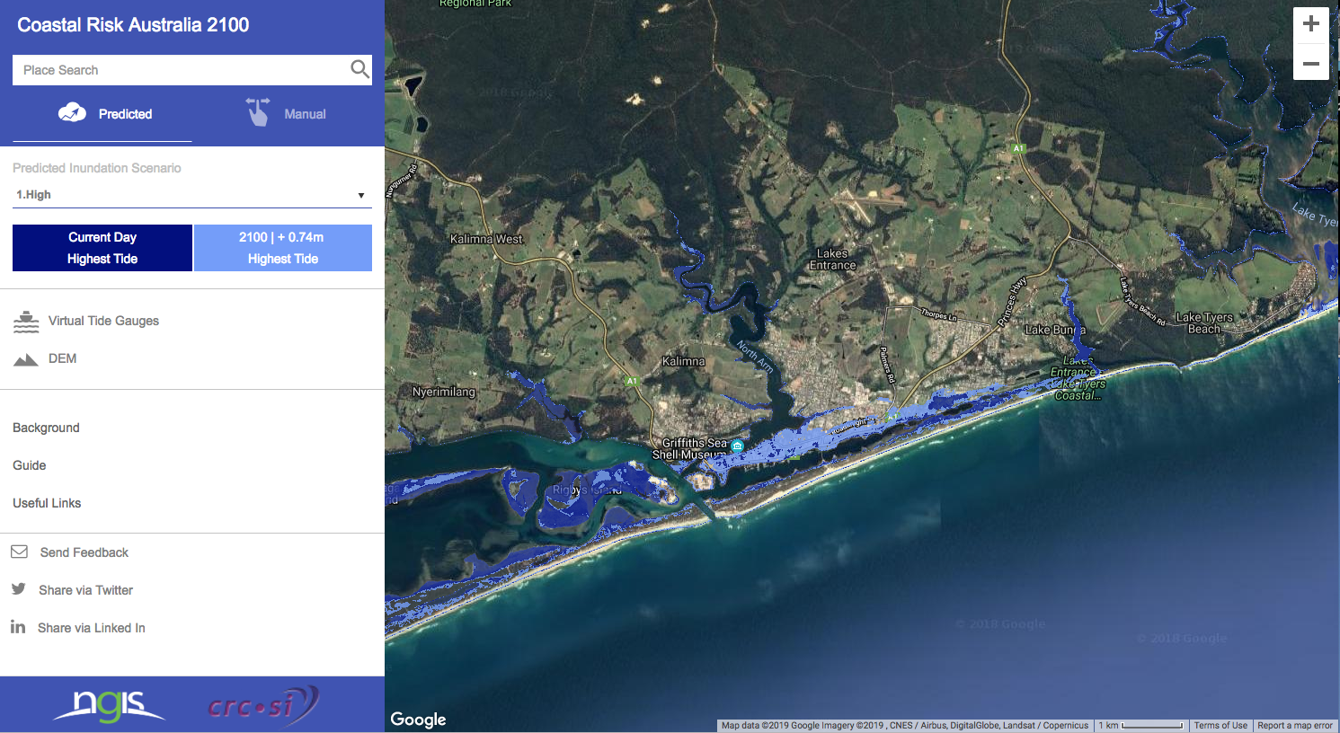 This map prepared by Coastal Risk Australia models high tides in 2100 around Lakes Entrance and the Gippsland Lakes. It presumes a high emissions scenario, which is close to the present course. Dark blue shows present day highest tides; light blue models highest tides in 2100. This tool can be accessed for any site on the Australian coast at this site: http://coastalrisk.com.au/viewer