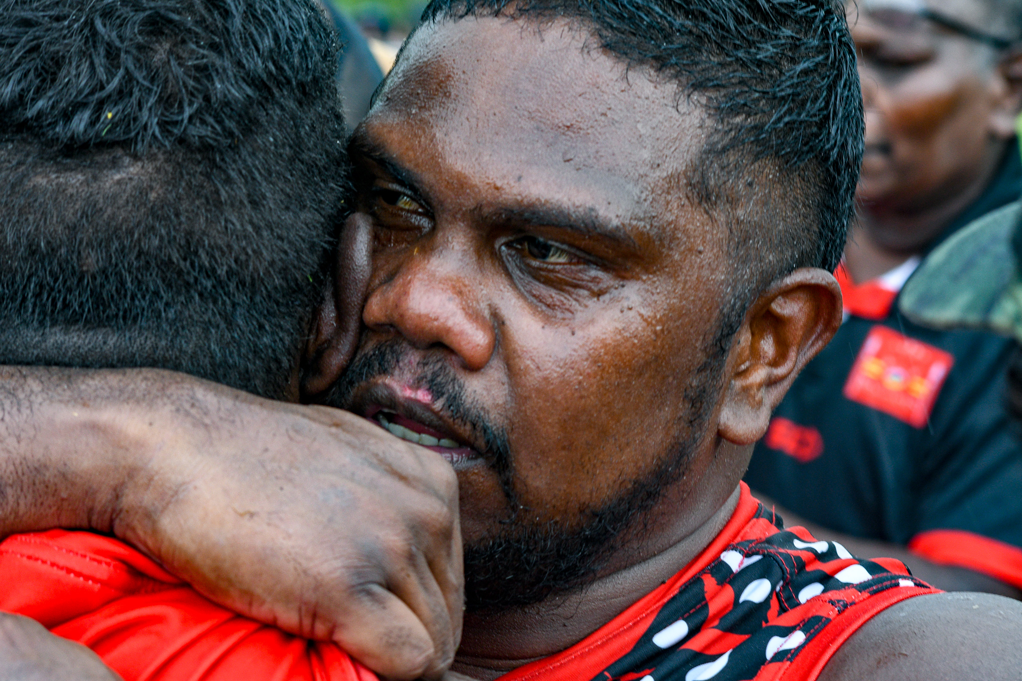 """Austin """"Ossie' Wonaeamirri after the Bombers win over the Crocs"""