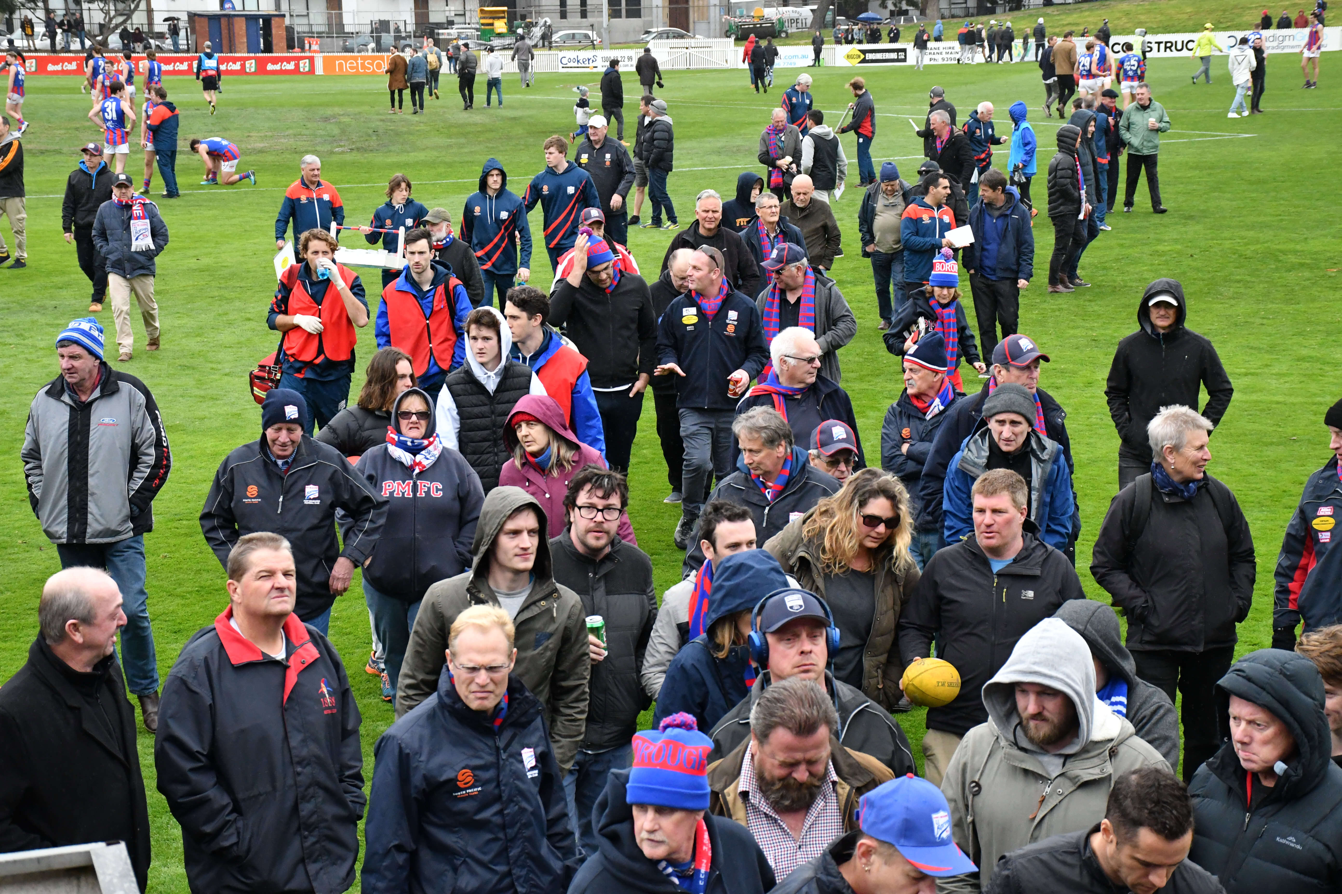 Port Melbourne fans head off the ground after the quarter-time huddle during the elimination final against rivals Box Hill Hawks. Port Melbourne trails by 10 points at Stannard's Stadium