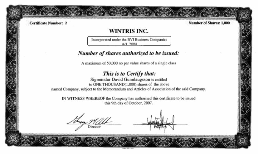 A certificate confirming Gunnlauggson's offshore shares. Photo: ICIJ