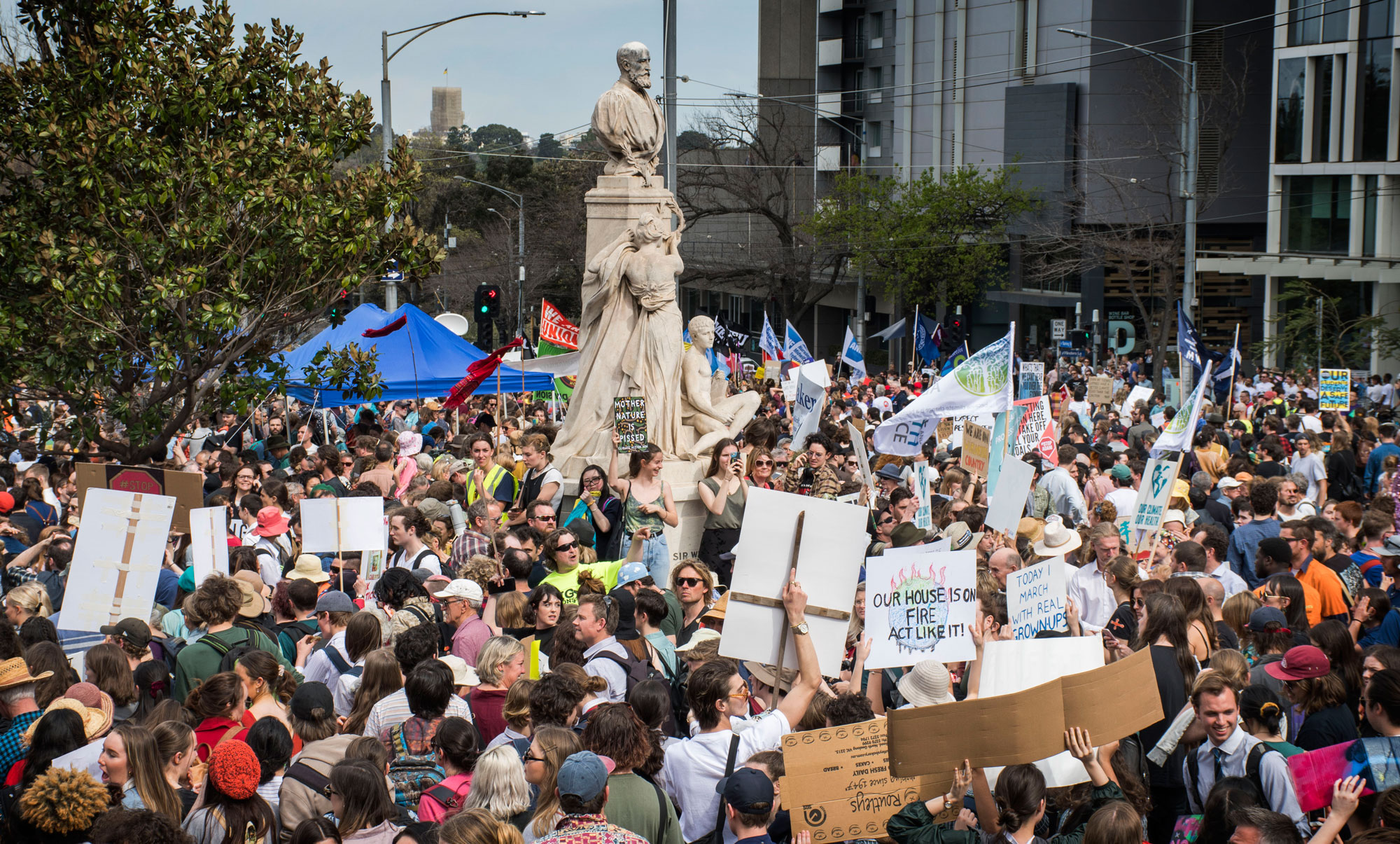 View of Spring Street Melbourne during the Global Climate Strike. Photo: Cici Liu