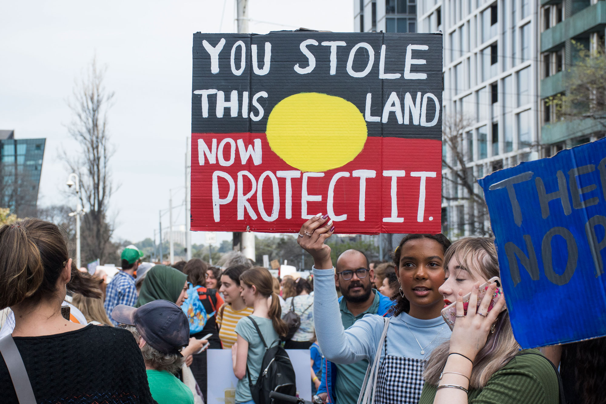 Natasha says she is doing the strike for the future of this land, Australia and the children. Photo: Chenxi Gui