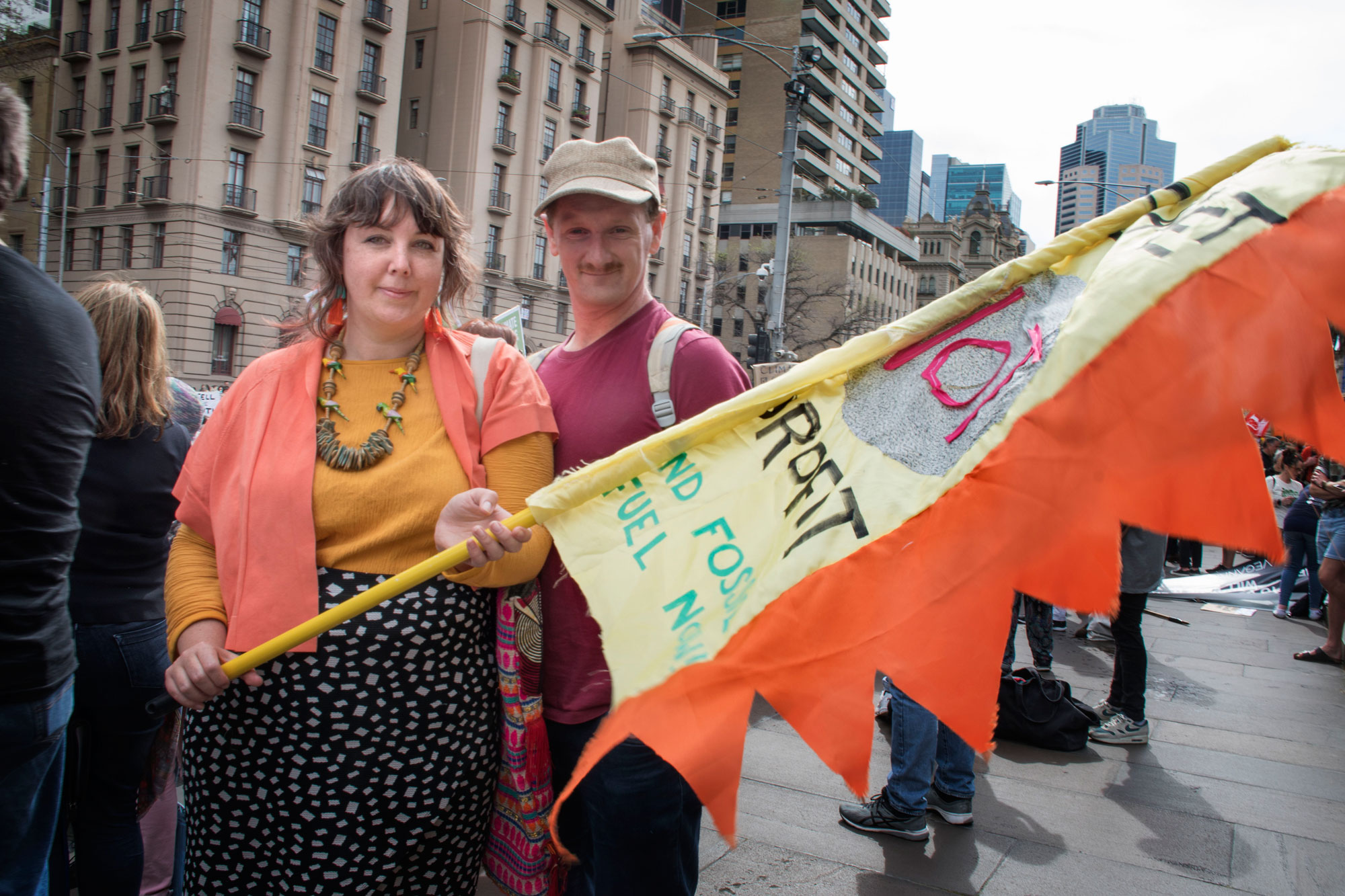 Gini Merange (left) is a primary school teacher who took a day off to strike saying,