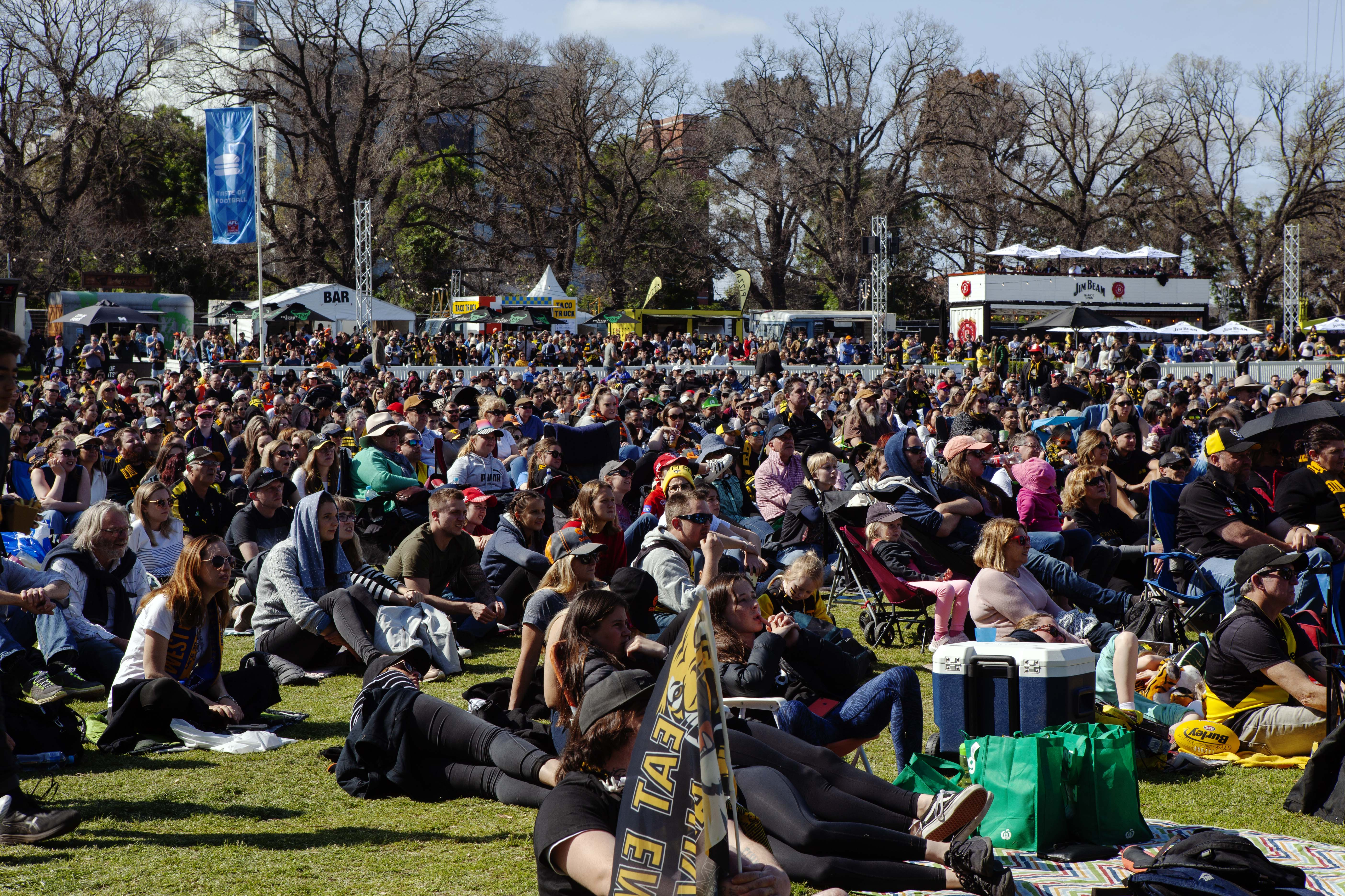 A huge crowd watches the game at a live site in Yarra Park, outside the MCG.