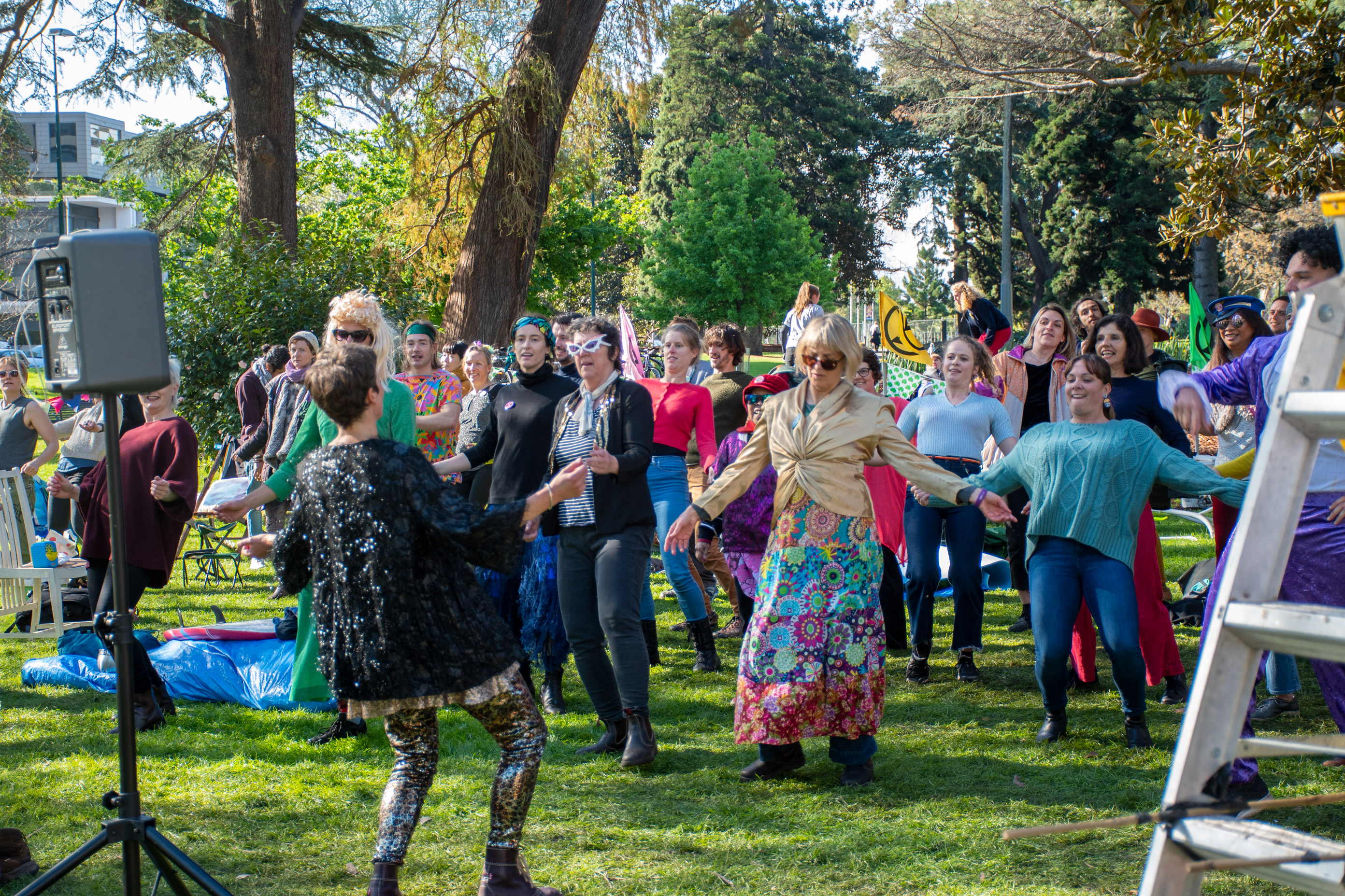 Extinction Rebellion members practising their dance moves at their base in Carlton Gardens, ahead of their 'disco-bedience' disruption. Contrary to what some believe, the protesters are not all disobedient university students.