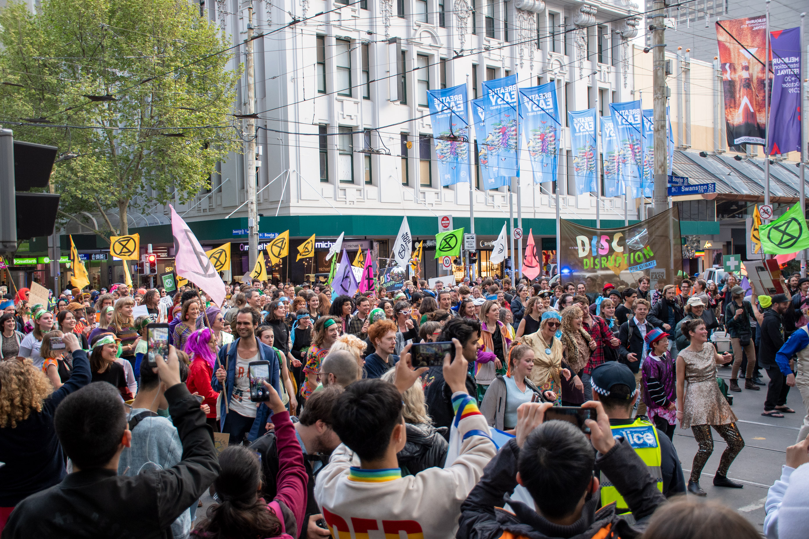 The protesters blocked several CBD intersections including Swanston and Bourke streets, causing frustration among peak-hour commuters.