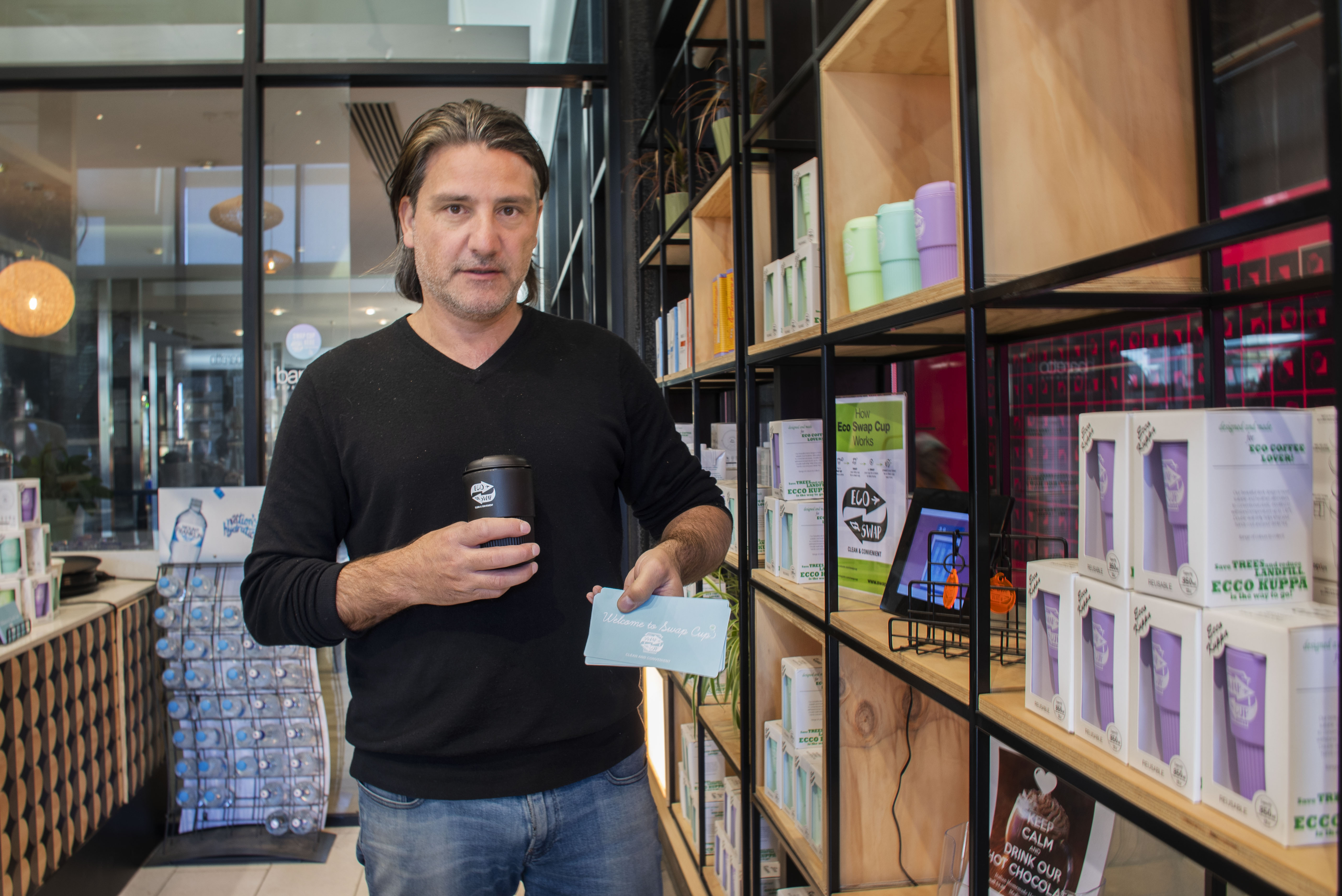 """Mirko Angele, the owner of Baretto Coffee and PortaVia Coffee, started running his coffee shop 18 years ago and says Melbourne's coffee culture has exploded in that time. He not only wanted to persue good coffee, but he was conscious of customers wanting to make sustainable and environmentally friendly choices. To build an eco-friendly and convenient way for people to use reusable takeaway cups, he launched a program called """"Swap Cups"""" in March 2019.    """"Under this program, people can enjoy their coffee in a healthy way; it is good for customers, good for our business and good for environment; it is a win-win situation which is good for everybody,"""