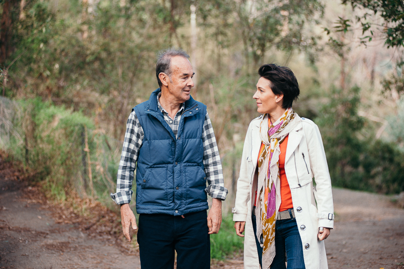 Tara McDonald with her dad, Jim, who has had to move interstate but remains active despite his dementia. PHOTO: MICHELLE GRACE HUNDER, SUPPLIED