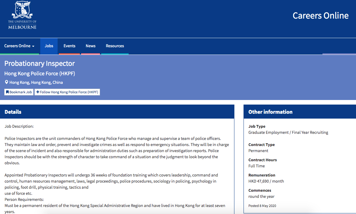 """The listing for a """"Probationary Inspector"""" position, advertised on the University of Melbourne website, includes training that includes skills in """"command and control"""" and """"use of force""""."""