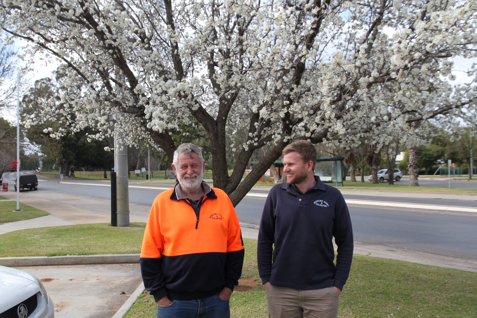 """Bees have been part of the Monson family story for generations. """"You never stop learning about bees, they're just incredible,"""" says Trevor, left, with son Jonathan. """"Man doesn't like it because the bee is smarter than what he is."""