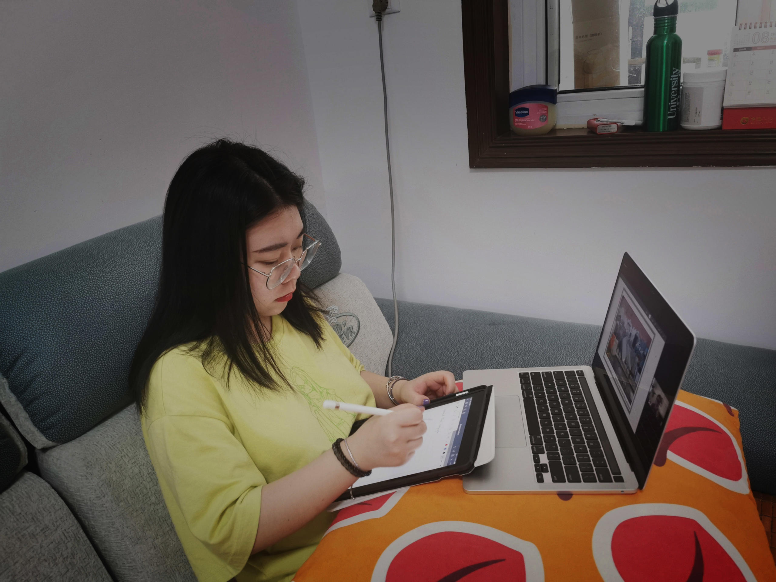 Xiyu managed to keep herself busy during her quarantine period. Part of her daily routine involved attending university classes online. Image credit: Xiyu Zha